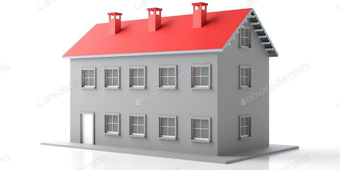 Haus Villa Miniatur isoliert vor weißem Hintergrund. 3D Illustration