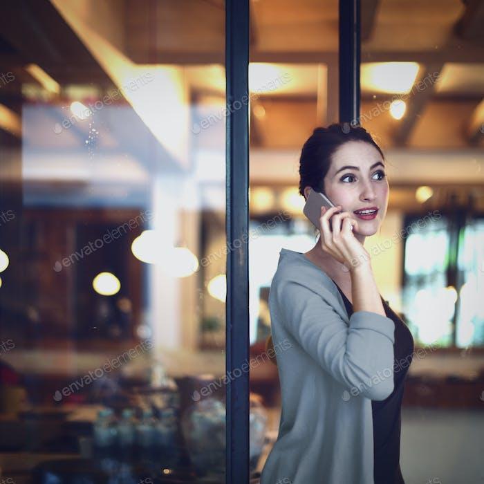 Woman Mobile Phone Connection Talking Communication Concept