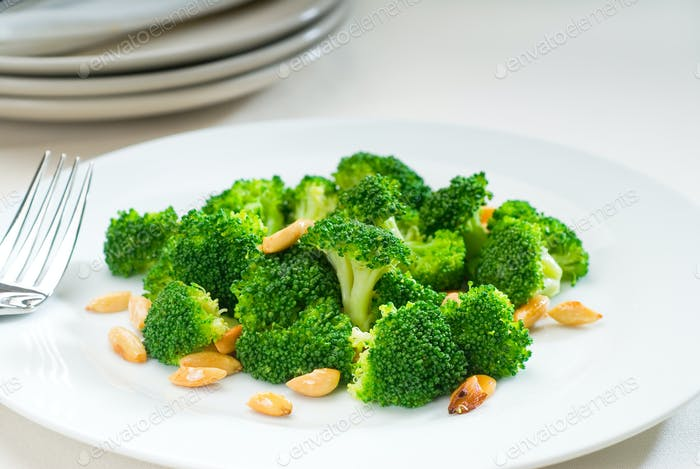 fresh sauteed broccoli and almonds