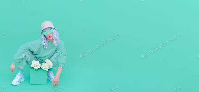 Fresh Mint fashion Girl 90s. Monochrome color trends. Aqua Menthe aesthetic concept