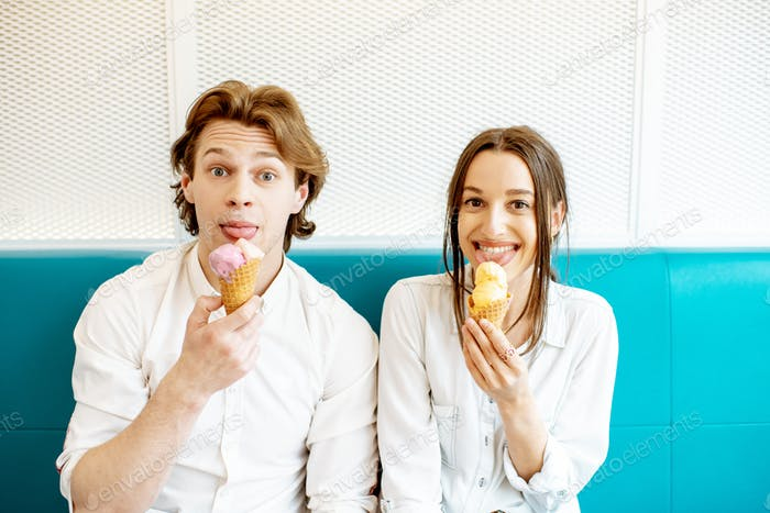 Couple having fun with ice cream