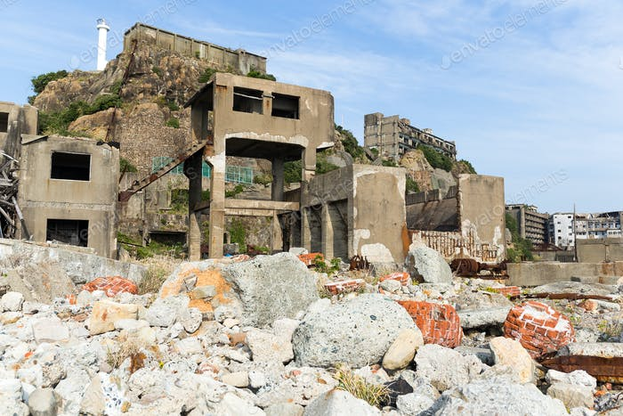 Gunkanjima island in Japan