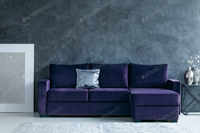 Grey and purple living room