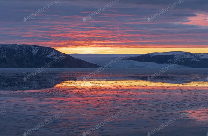 Sunrise over the Greenland Icefield