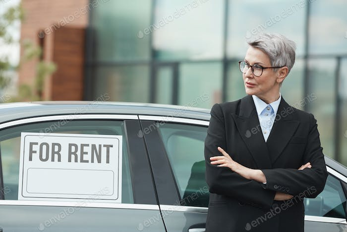 Businesswoman renting the car