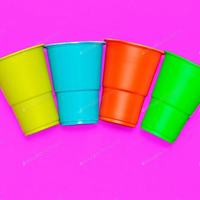Plastic tableware. Minimal. Multicolored glasses