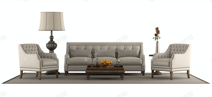 Classic style furniture set isolated on white