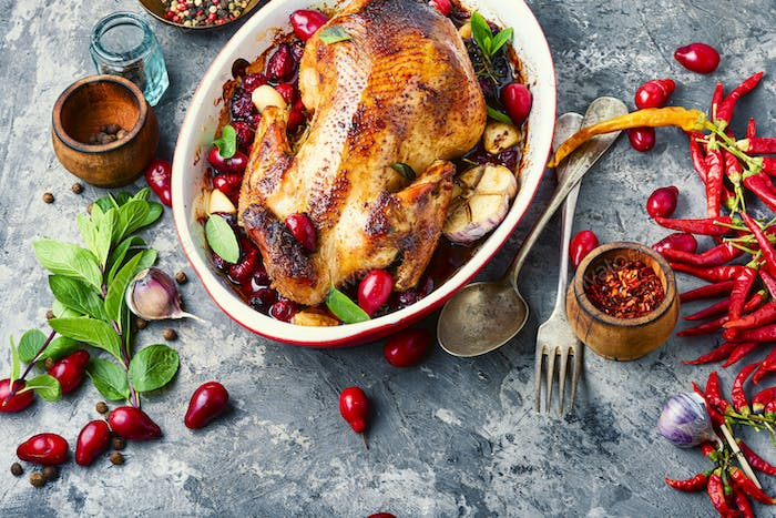 Baked chicken in berry sauce