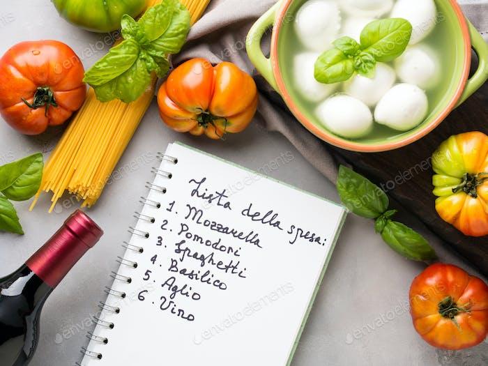 Italienisches Essen Tomate Mozzarella Stillleben