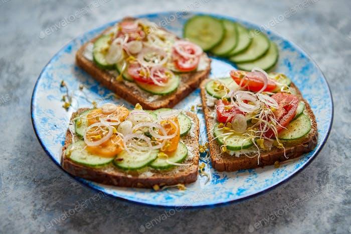 Teller mit Toast mit Cucomber, Tomaten und zerbröckeltem Feta und Rettich Sprossen