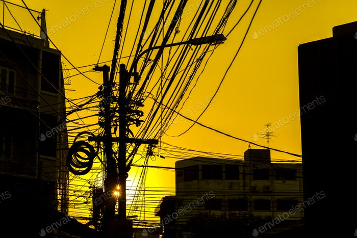 electronic line with sunset