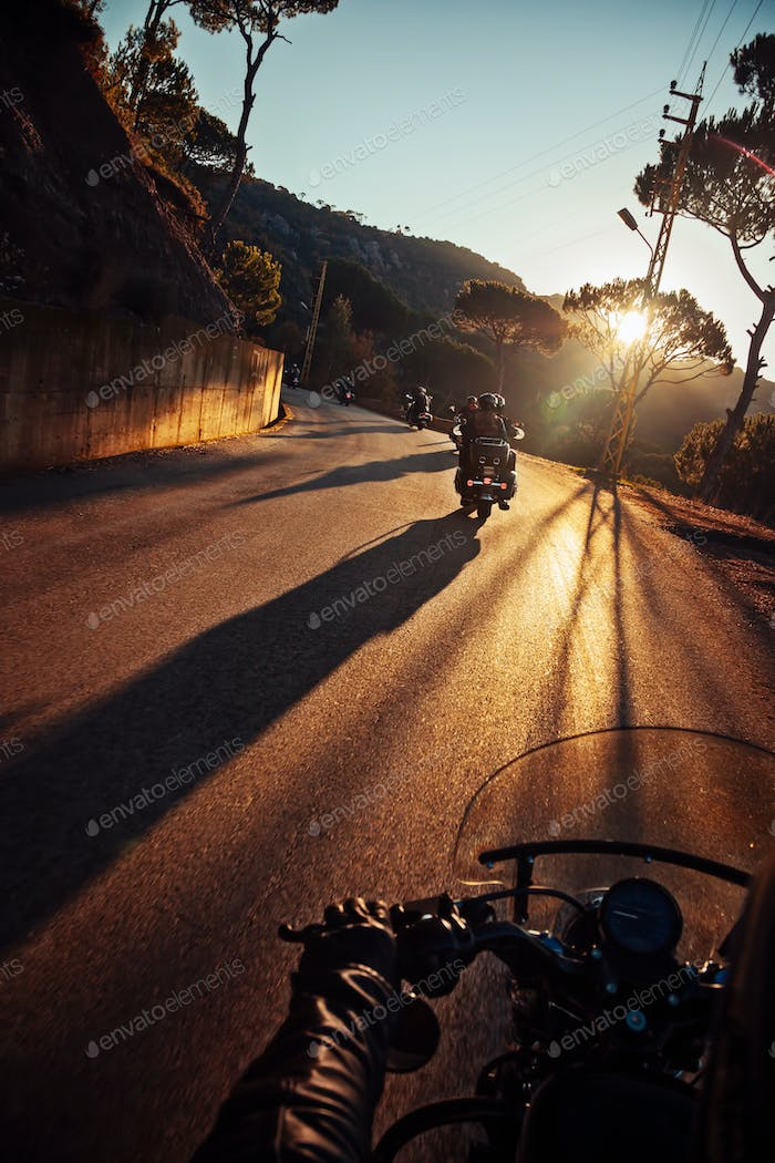 Bikers on Sunset Ride