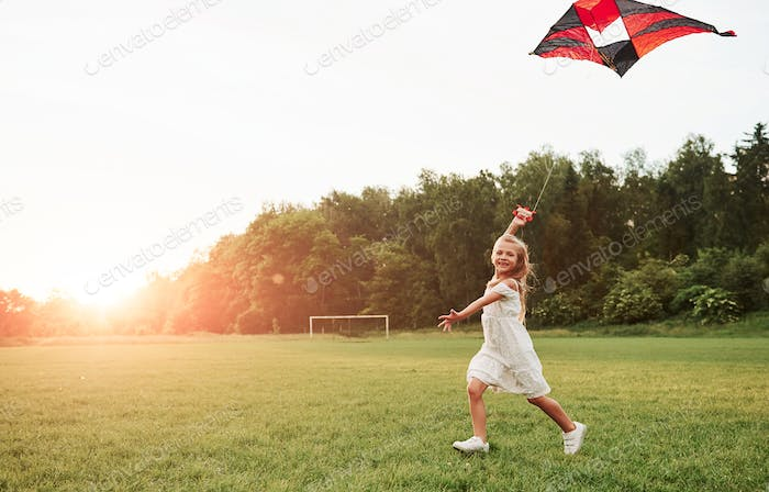 Alone at the meadow. Happy girl in white clothes have fun with kite in the field. Beautiful nature