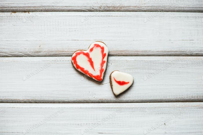 Cookies in the form of heart. St. Valentine's Day