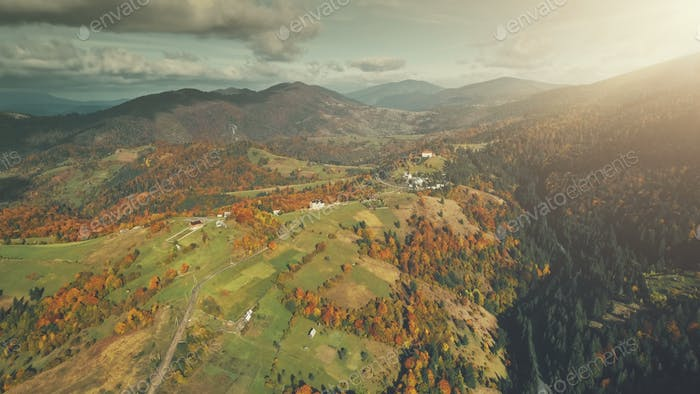 Multicolored mountainous landscape aerial view