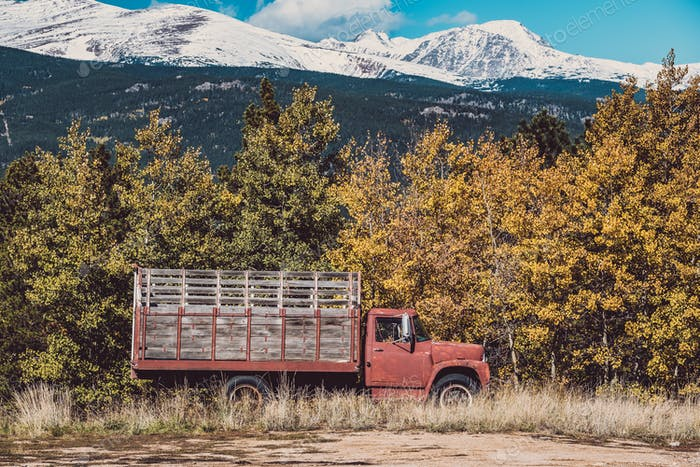 Old rusty truck at autumn sunny day