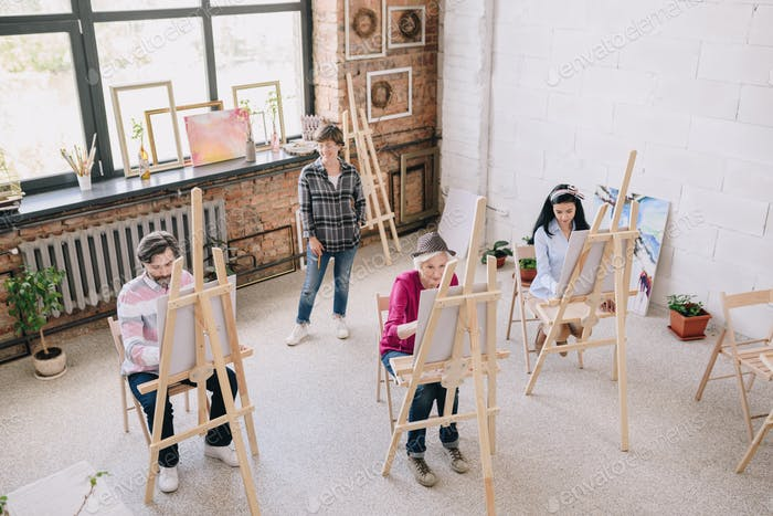 Students in Modern Art Studio
