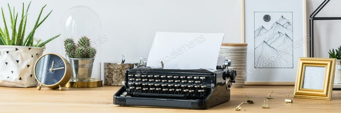 Typewriter on desk