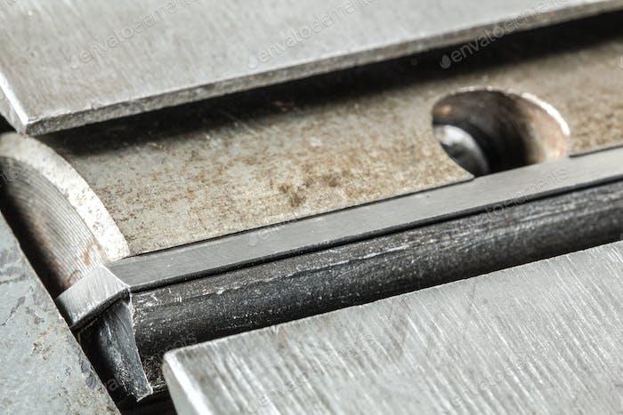 Schaft mit scharfen Messern der Holzbearbeitung Jointer сlose-up