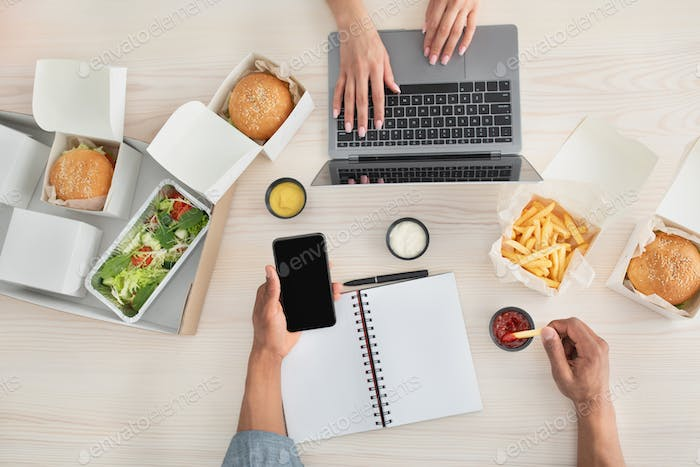 Work, lunch and food delivery office and home