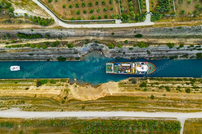 Ship passing through Corinth Canal in Greece