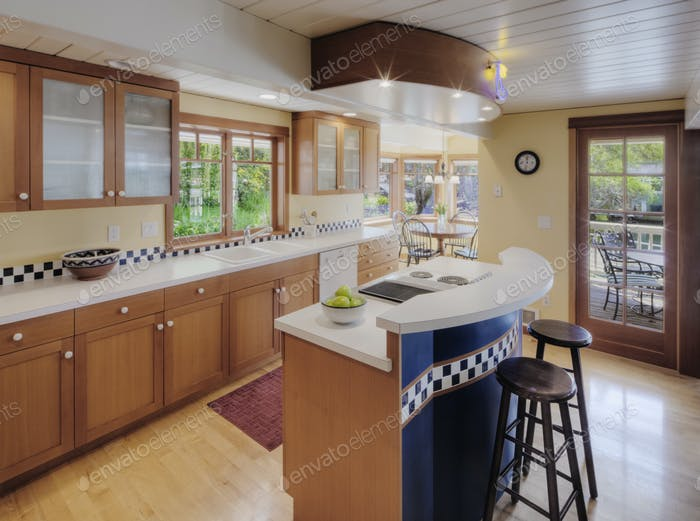 54486,Counter tops and stools in open kitchen
