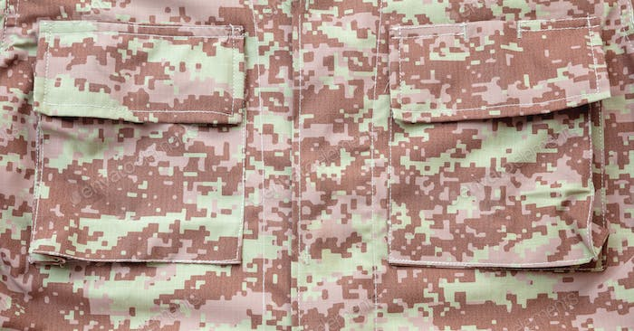 US army camouflage uniform detail background, closeup view