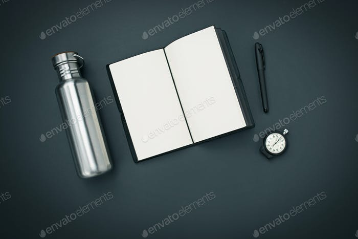 Still life of casual man. Modern male accessories on black