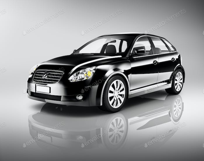 Three-Dimensional Shape Black Sedan Studio Shot