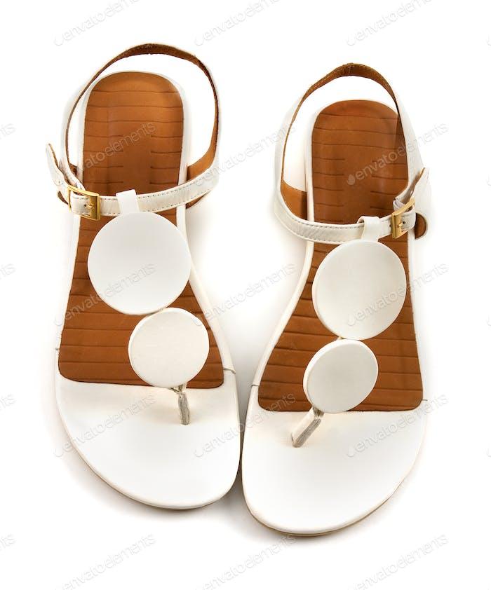Vintage circles white flip flop sandals