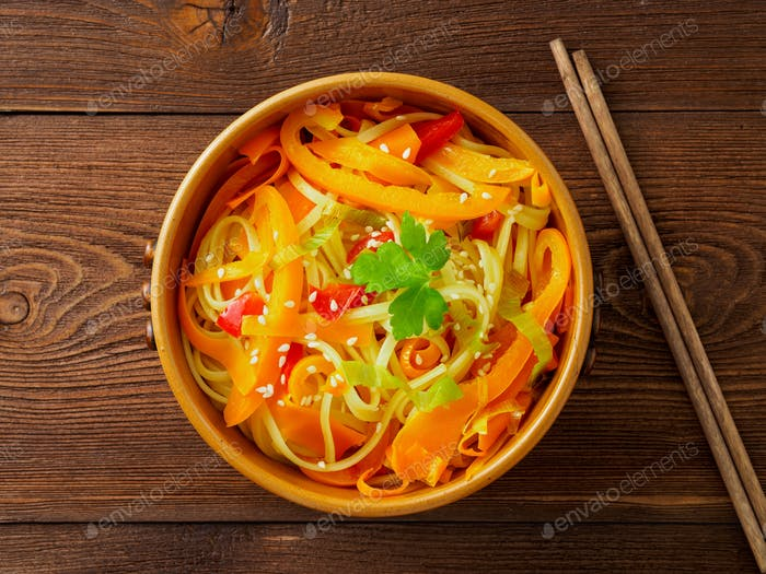 Asian cuisine, noodles stir-fry udon
