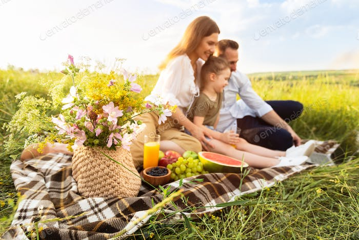 Happy family together on a picnic with computer