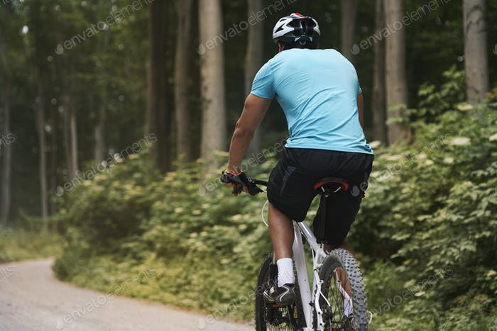 Cyclist on the ride in  the forest