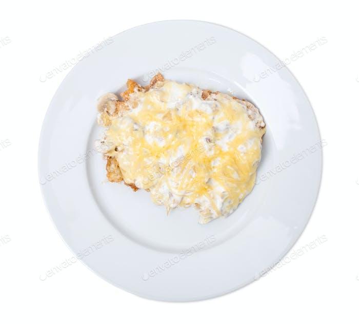 Homemade breaded schnitzel.