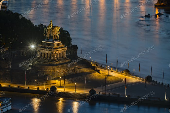Emperor William I Statue At Koblenz Deutsches Eck At Night