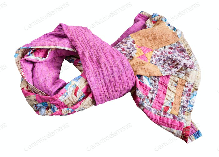 tied stitched patchwork scarf from various strips