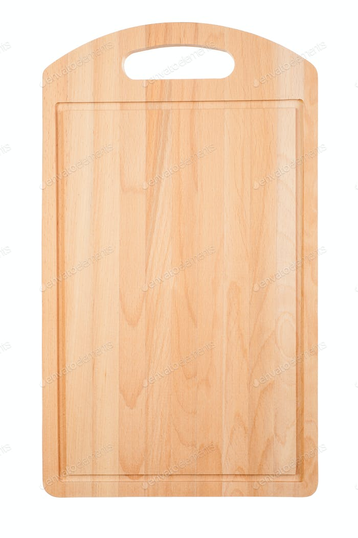 Wooden cutting kitchen board on white