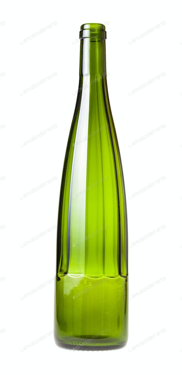 empty faceted green wine bottle isolated on white