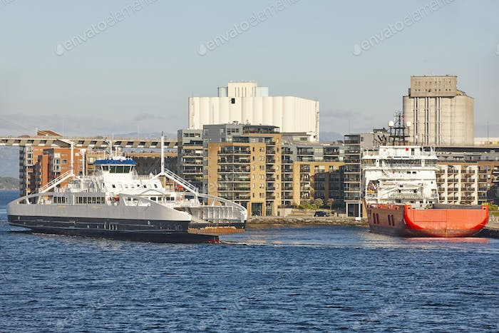 Norwegian ferries in Stavanger city harbor. Norway. Transportation background
