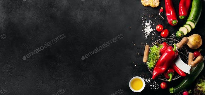Food-Hintergrund mit verschiedenen Gemüse