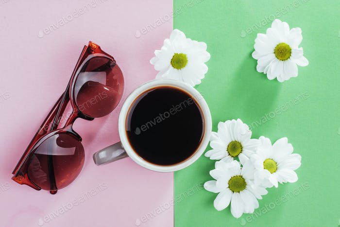 coffee and white flowers  glasses