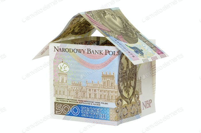Model house made from 500 pln banknotes