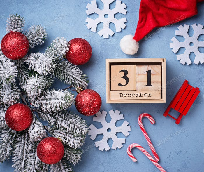 New year background with wooden calendar