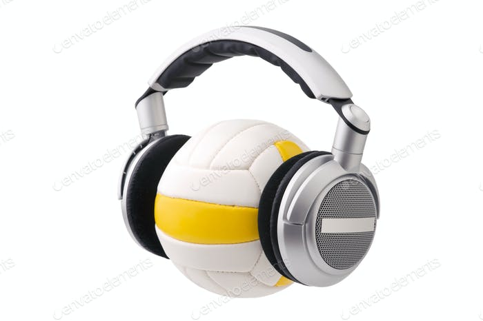 Headphones on a volleyball ball