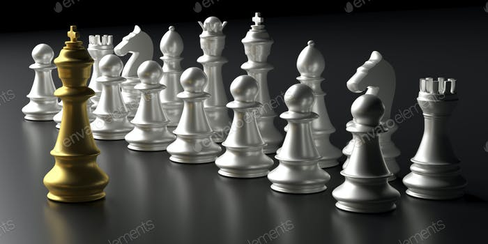Chess king gold and silver chess set on black background. 3d illustration