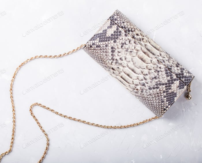 Women's bag clutch bag of leather of reptiles