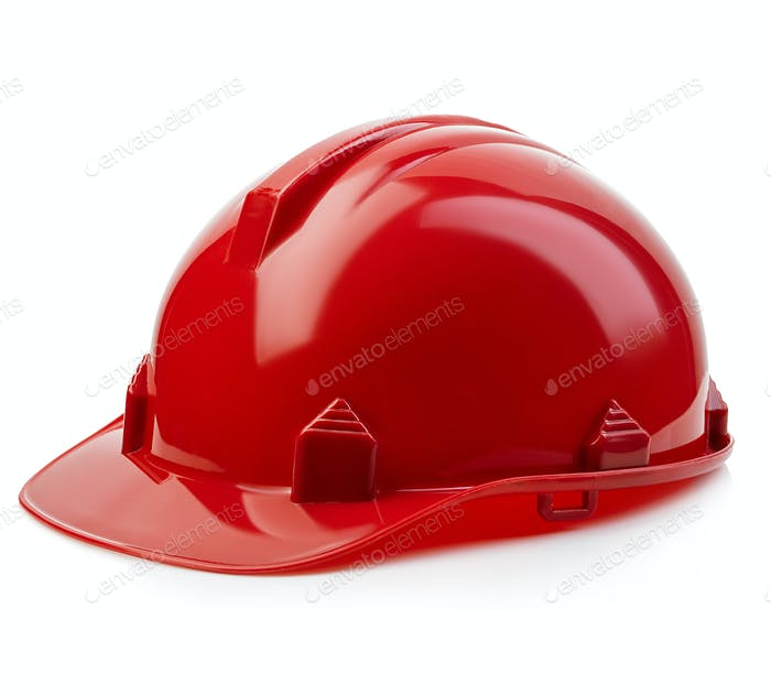 Red safety helmet close-up isolated on a white background.