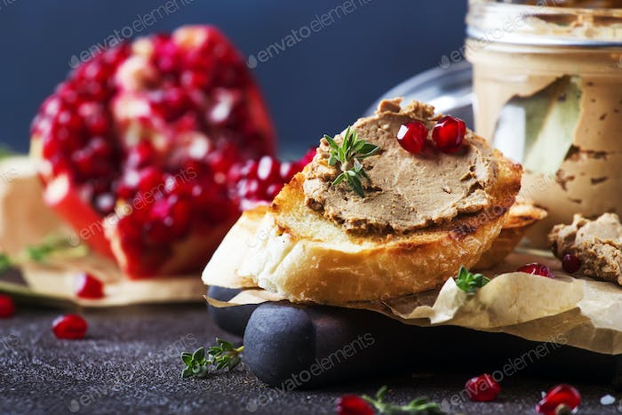 Meat liver pate on toasted bread