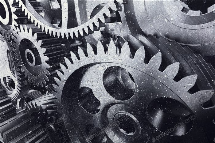 Industrial metal gears in a close-up.