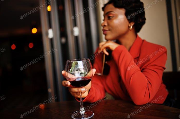 African american woman in restaurant